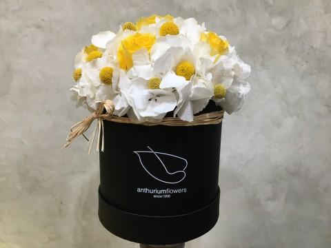 Cutie cu Hortensii albe si Trandafiri galbeni