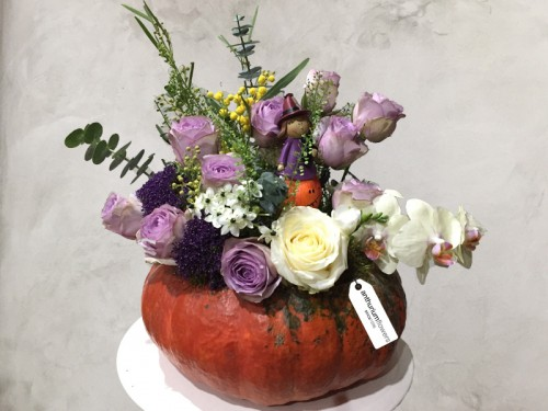 Aranjament floral Toamna in culori pastel